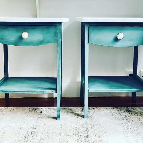 Painted Marble Top Side Tables