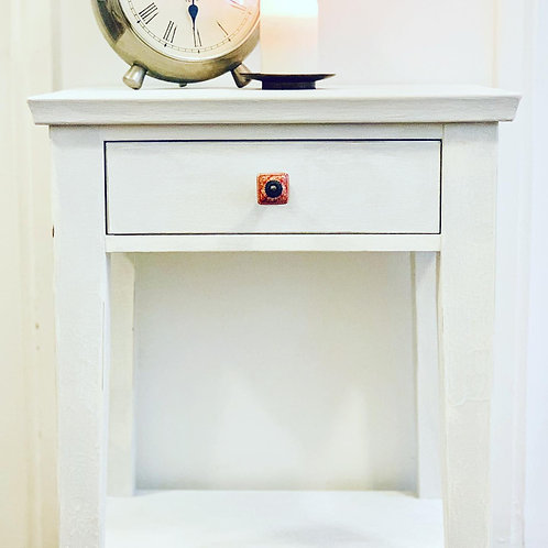 Cream & Grey Distressed Side Table