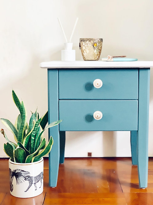 Small Sea Green & Marble Painted Effect Table
