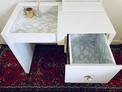 Linen White Marble Lined Desk
