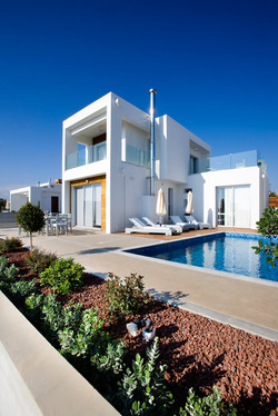 Azure modern beach villa for holidays in Paphos Cyprus