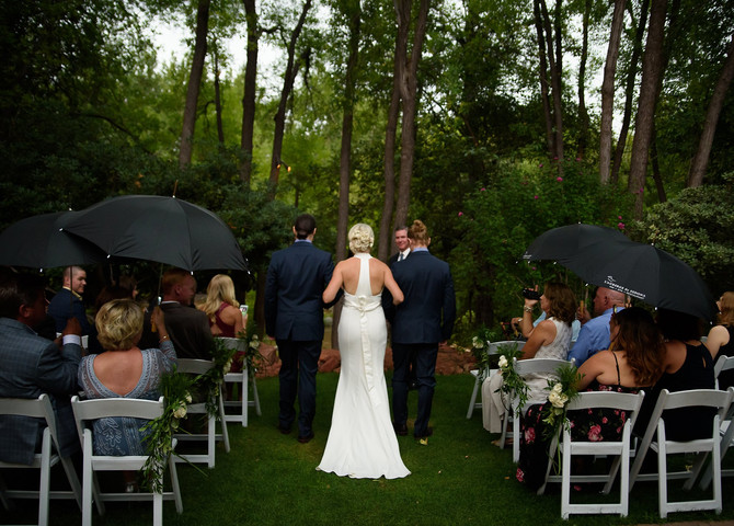 Donna and Chris's Intimate Rainy wedding at L'Auberge in Sedona Arizona