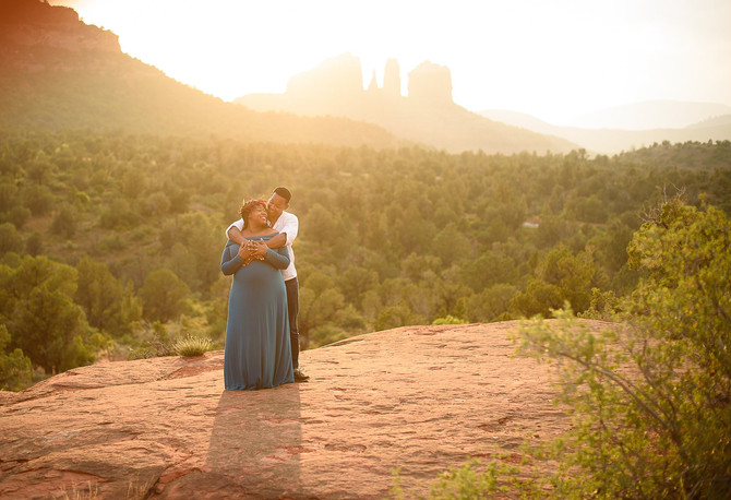 Sedona Babymoon Sunset Maternity Session- Marva and Honore