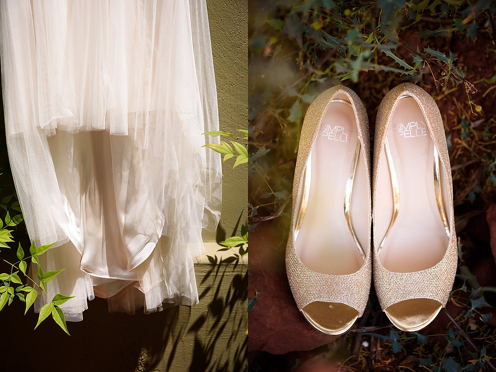 Bridal gown and shoes| Sedona Heritage Museum| Joyce and Friday
