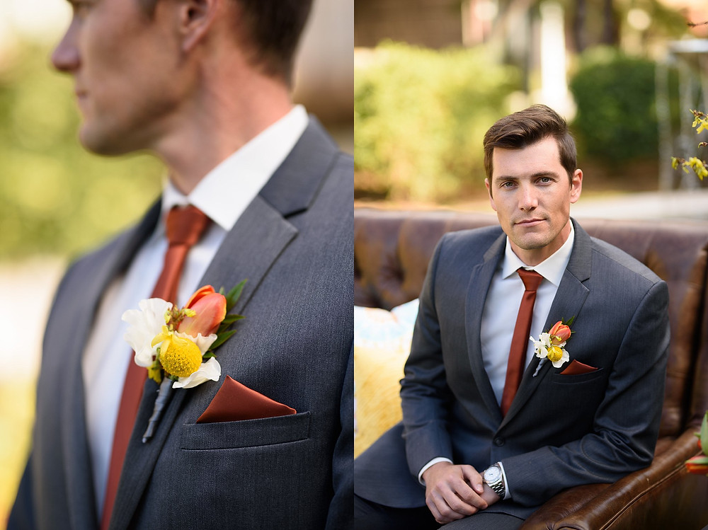 groom posing outdoors on a brown leather couch