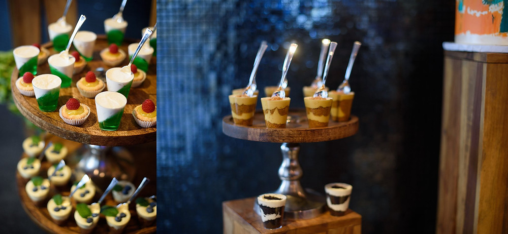 bright colored desserts on tall wood stands