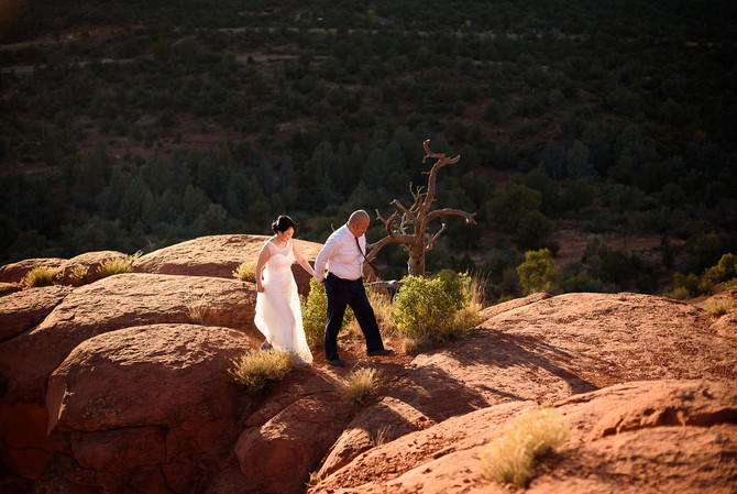Yu and Masami's Adventurous Honeymoon Session at Bell Rock in Sedona