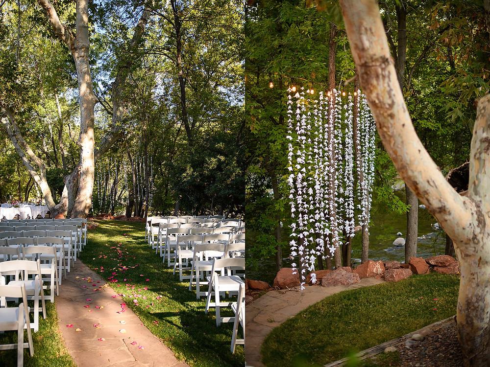creekside wedding ceremony set up| sedona arizona | kris and Robb