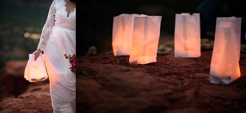 Bride holding luminaries in Sedona