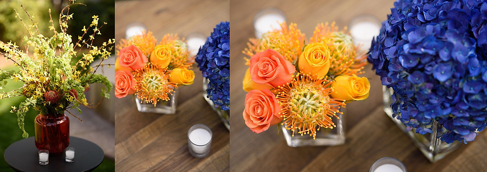 colorful wedding flowers on tabletops