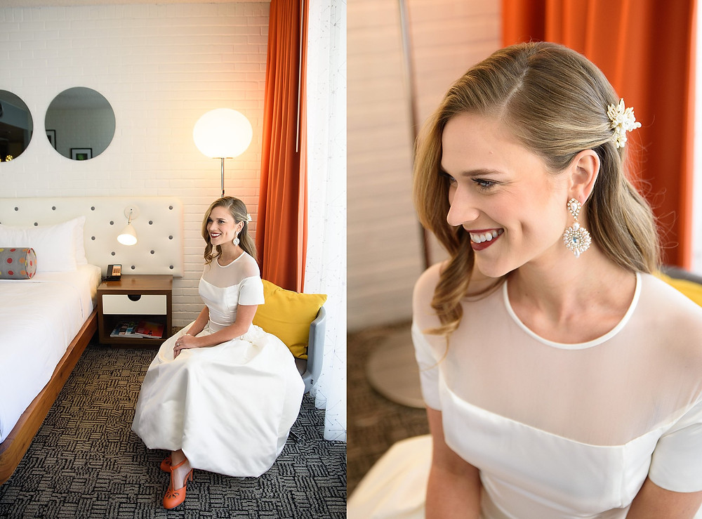 bride smiling sitting in chair for bridal portraits