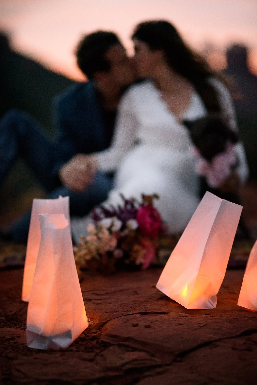 Sunset Sedona Elopement lite by luminaries