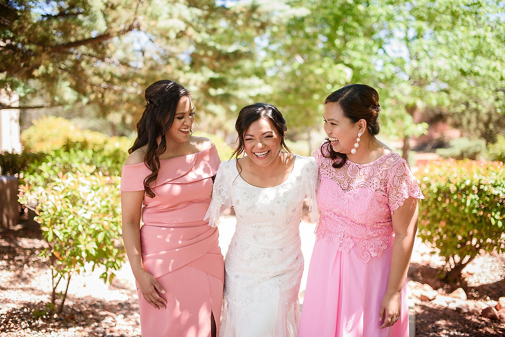 Bride and Bridesmaids laughing| Sedona Heritage Museum| Joyce and Friday