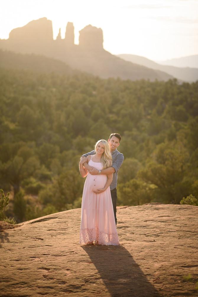 Sedona Baby-moon Sunset Maternity Session -Marshall and Christie