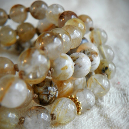 MALA: Gold Rutilated Quartz Mala