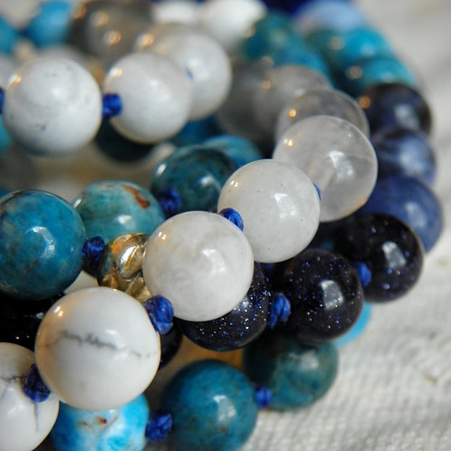 MALA: Blue Apatite, Moonstone Multi-stone Mala