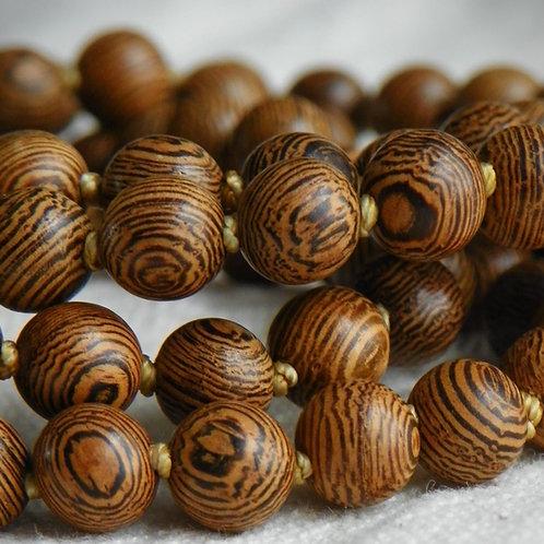 MALA: Wenge Wood Buddha Bead Mala
