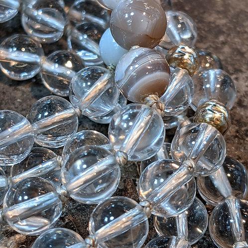 Mala: Clear Quartz/Crystal & Agate