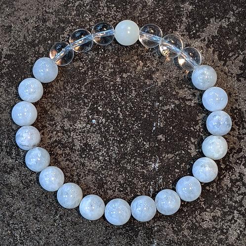 Bracelet: 8mm Moonstone & Quartz