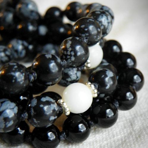MALA: Snowflake Obsidian Mala