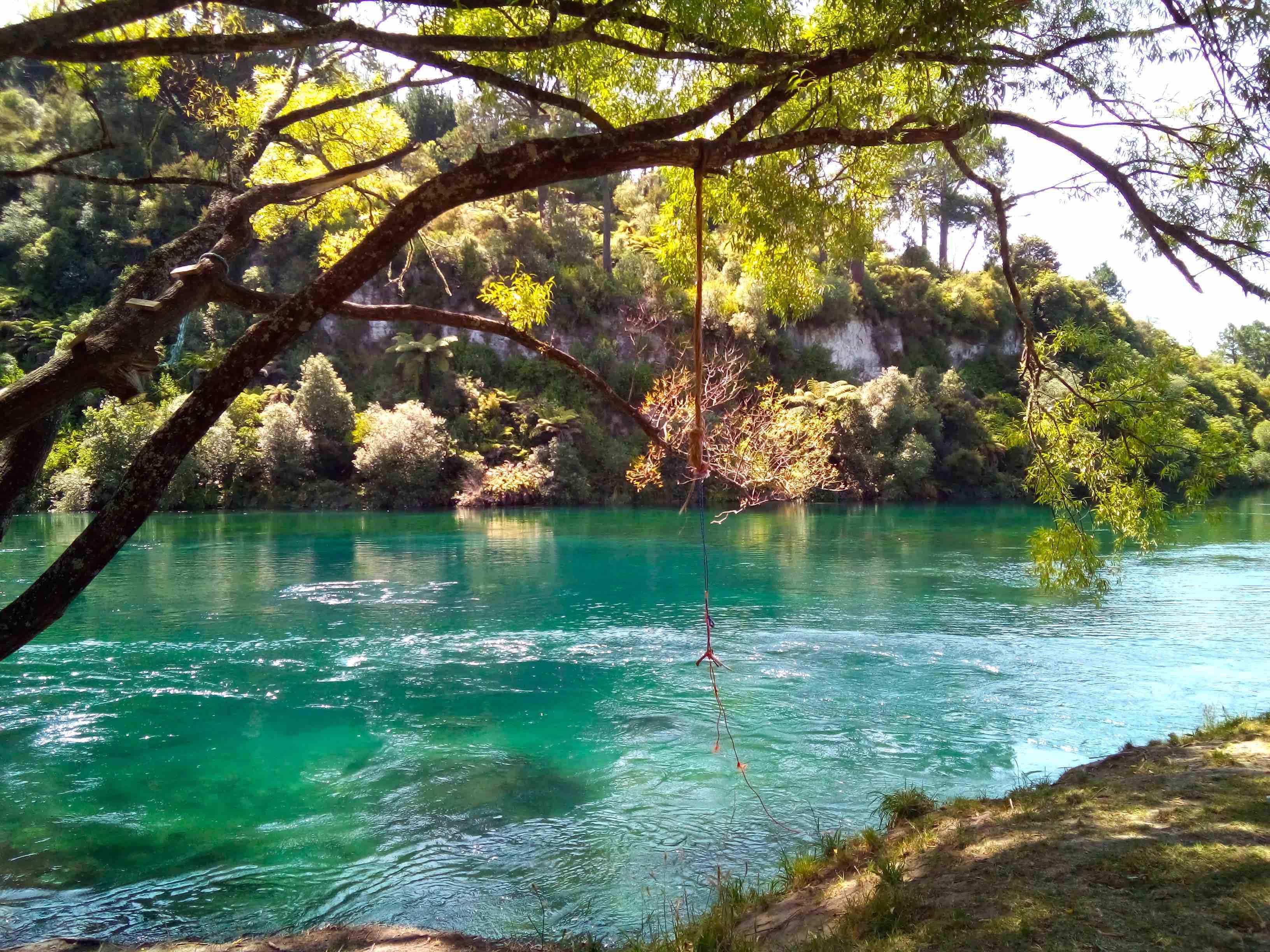 青く輝くワイカト川