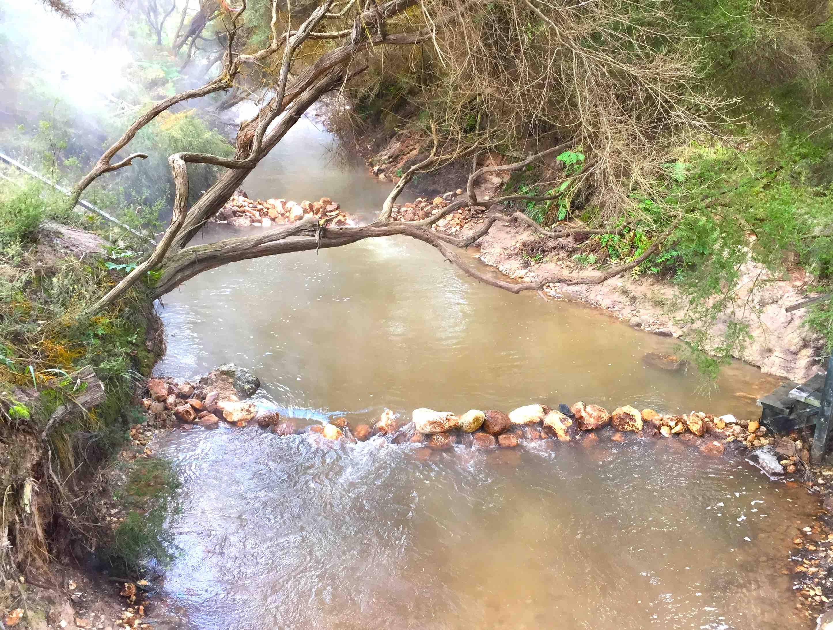 上流から温泉の湯気が立ちのぼる
