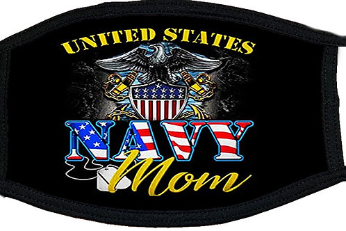 Navy Mom Black Mask 2164