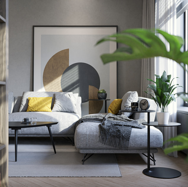 Minimalist apartment with yellow accent