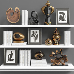 Decor Set 101 - Black And Gold Styled Decorations With Wood,Pictures And Books.jpg