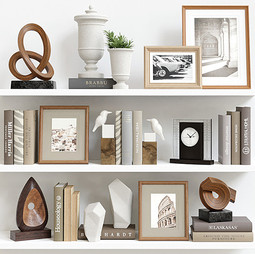 Decor Set 102 - Brown Stylized Wooden Decoration Set With Pictures,Books And Ceramic Sculpture