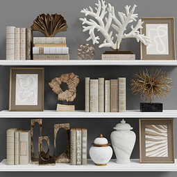 Decor Set 99 - Wooden , Metal And Ceramic Decorations With Pictures And Books