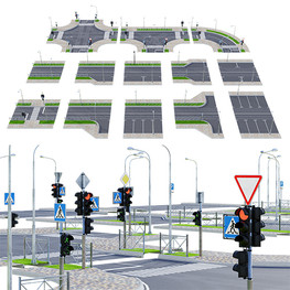 Road Parts - Sections Of Road With Crossroads ,Traffic Lights And Road Signs.jpg