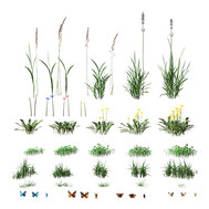 Landscaping Set Of Grass And Leaves - In