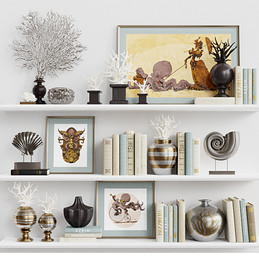Decoration Set 21 - Abstract Sea Stylized Set Of Golden Decorations With Books And Images