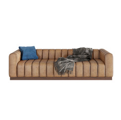 Forte Channeled Saddle Sofa + Pillows.