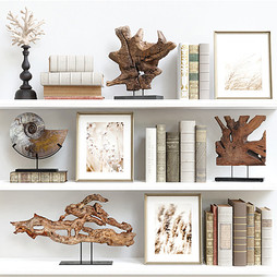 Decor Set 96 - Classical Wooden Decorations With Old Books And Pictures