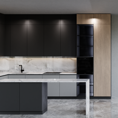 Kitchen Scene - Modern Corner Countertop With Sink, Wooden Cabinets And Stove