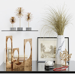Decoration Set 33 - Golden Decorations With Dry Grass And Books.jpg