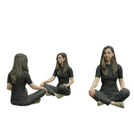 Sittting girl in black