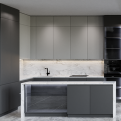 Kitchen Scene - Modern Corner Countertop With Sink, And Stove