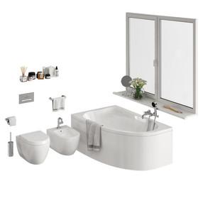 Bathroom Models - (Bathtub, Toilet, Bidet + Many Decorations)
