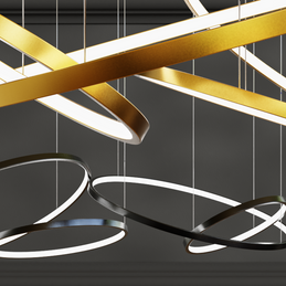 Decorative 5 Ring Chandelier - gold and