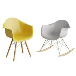 Vitra Yellow Chair + Vitra White Rocking