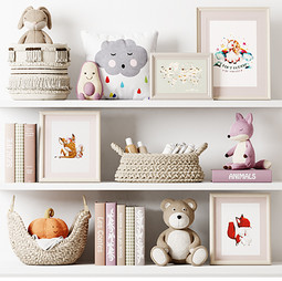 Deco - Kids Room Decor 03 With Plush Toys, Baskets Books And Pictures.jpg