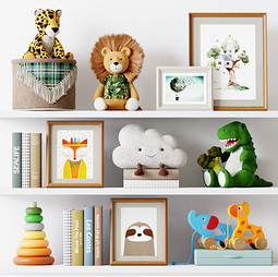 Decor - Kids Room Decor 09 With Plush And Wooden Toys, Images And Books.jpg