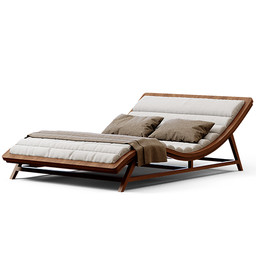 Sunbed - Large Wooden Cozy Chaise Lounge Pool Sunbed