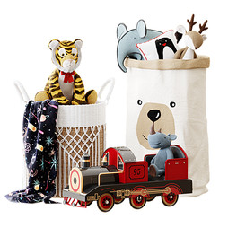 Decor - Kids Room Decor 11 With Baskets,Plaid,Plush Toys And Train Toy