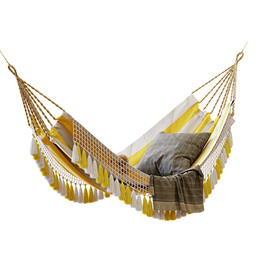 Hanging Chair - Saratoga Hammock Hanging Chair With Pillows And Plaid 01