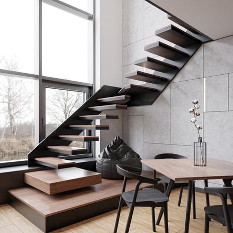 Loft minimalistic interior + video tutorial