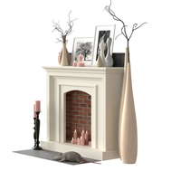 Fireplace With Candles - Decorations Set
